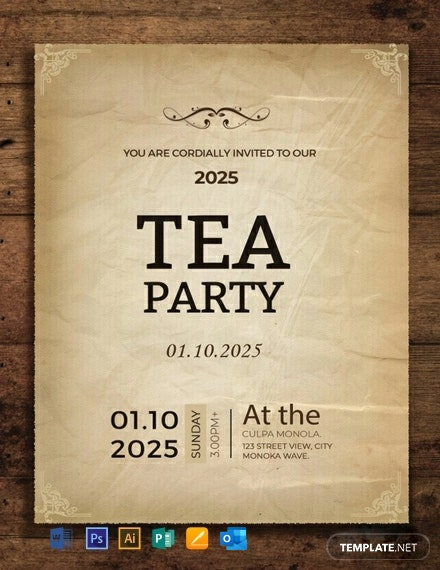 Free Tea Party Invitation Card Template