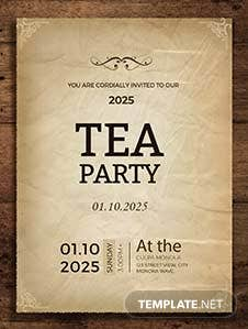 Tea Party Invitation Card Template