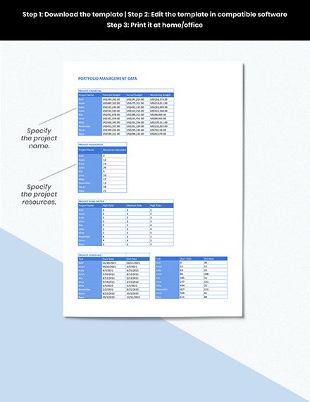 Portfolio Management Dashboard Format