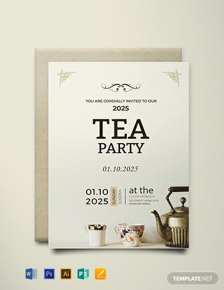 FREE High Tea Party Invitation Card Template