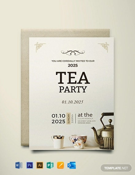 Free High Tea Party Invitation Card Template Word Psd