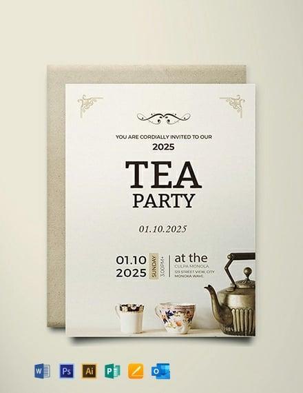 Free High Tea Party Invitation Card Template