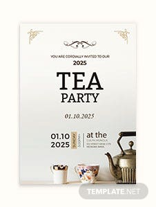 High Tea Party Invitation Card Template