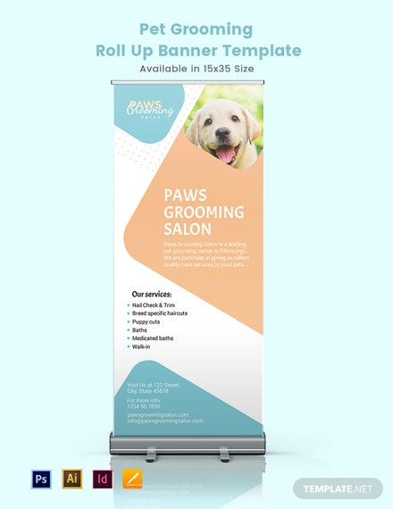 Pet Grooming Roll Up Banner Template
