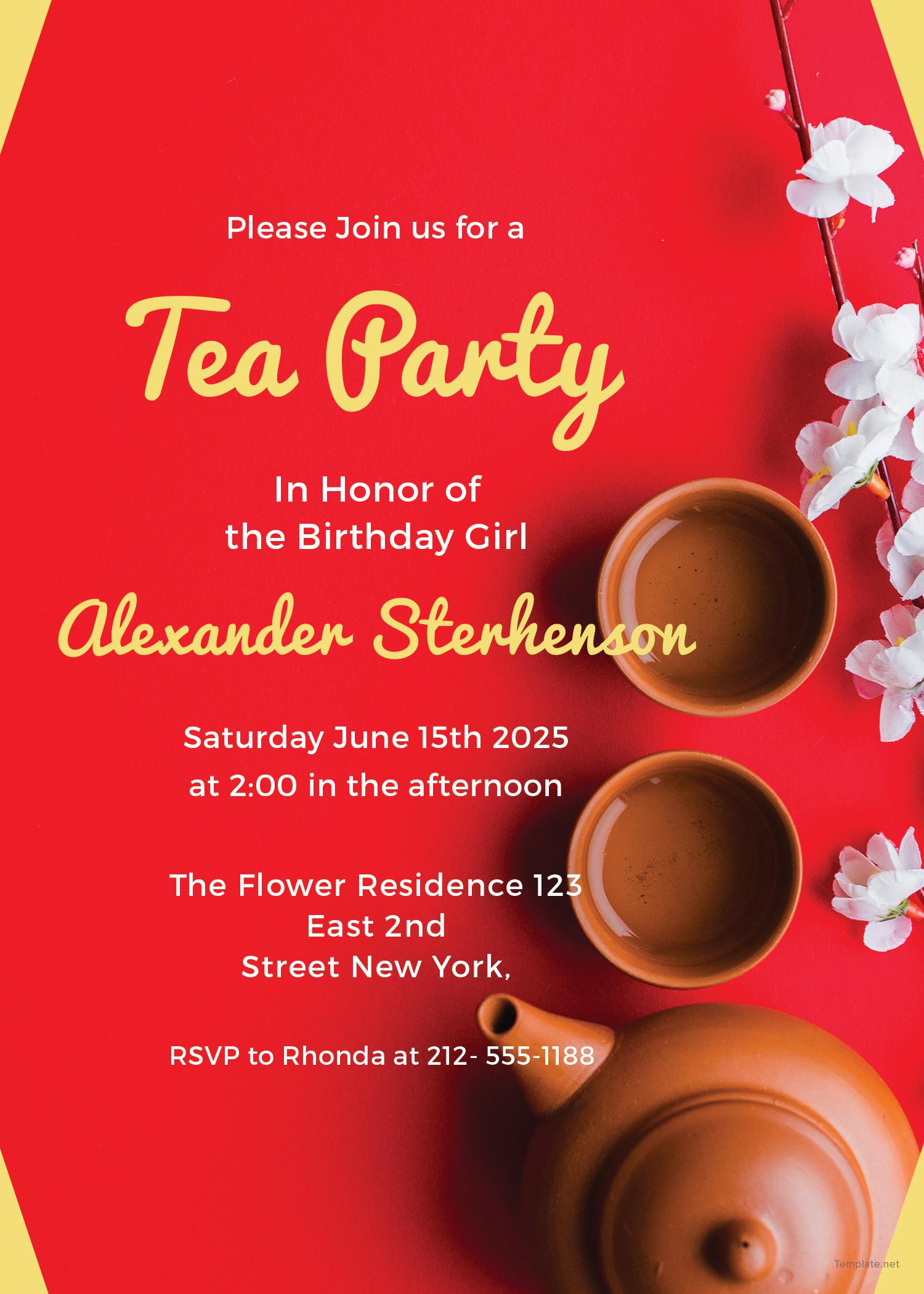 Perfect Printable Tea Party Invitations Festooning - Resume Ideas ...