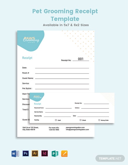 Pet Grooming Receipt Template