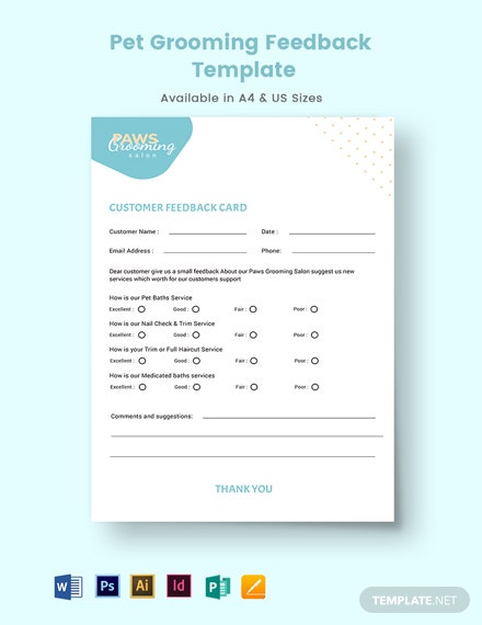 Pet Grooming Feedback Form Template