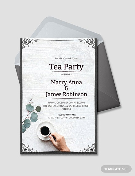 Free Elegant Tea Party Invitation Template