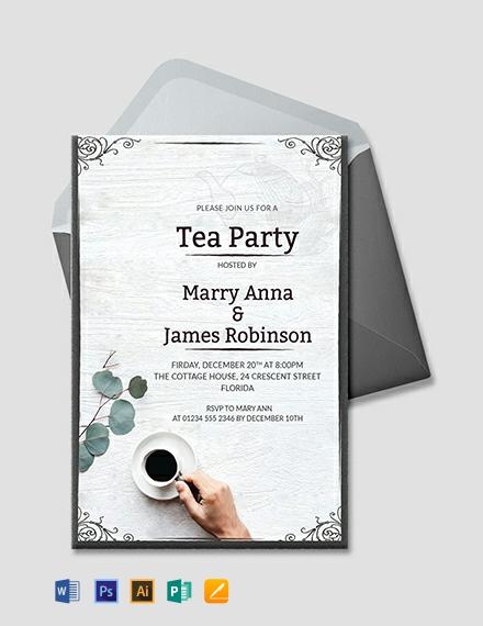 Free Elegant Tea Party Invitation Template