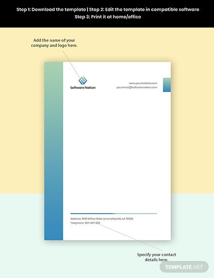 Software Development Letterhead Template Format