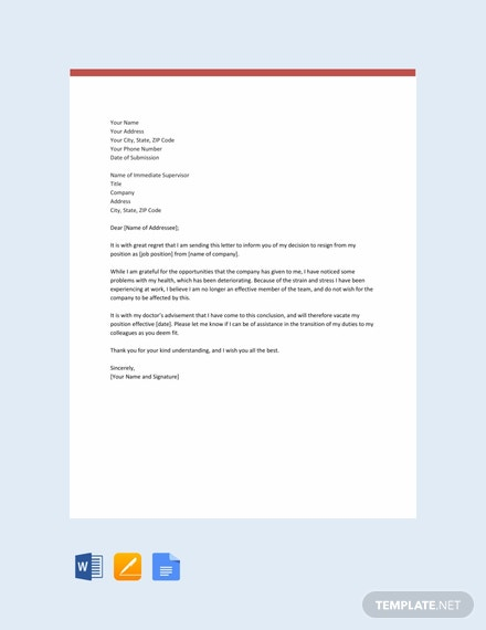 Free Resignation Letter Template Due to Health Issues