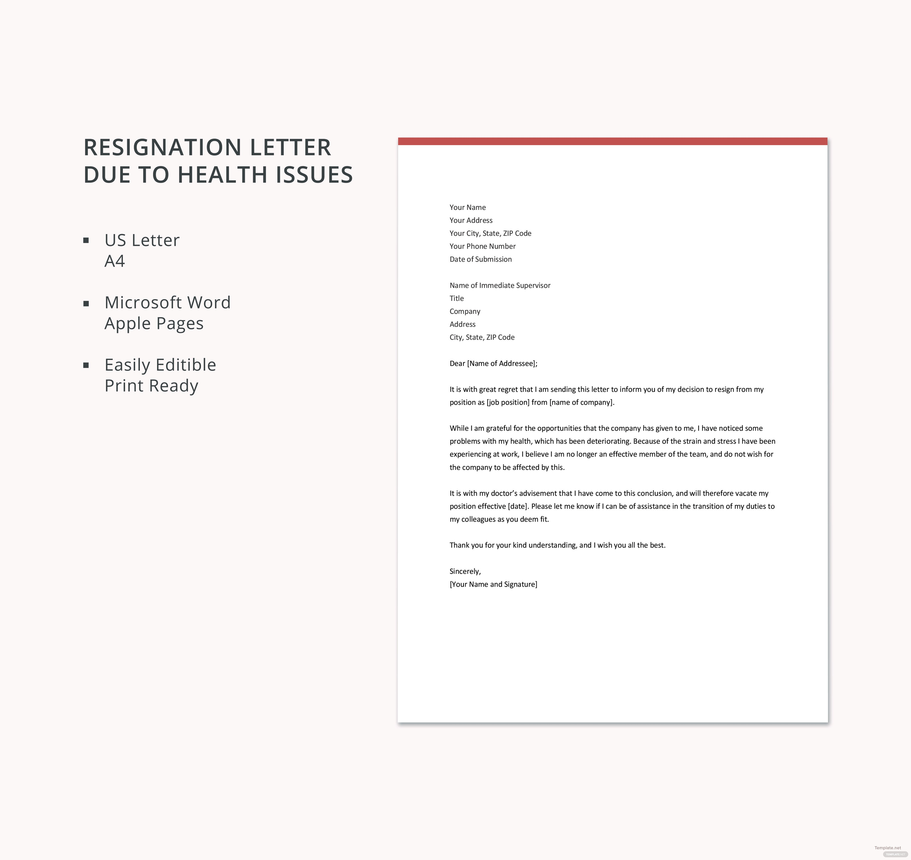 Free Resignation Letter Template Due To Health Issues In Microsoft