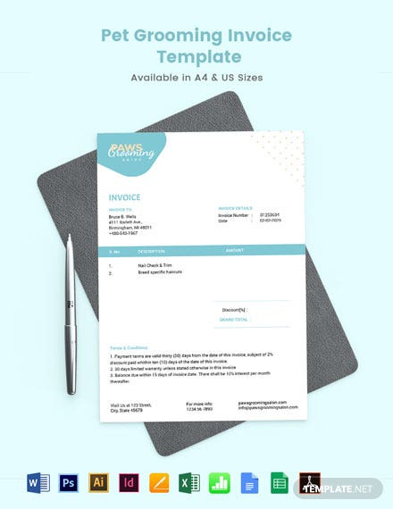 Pet Grooming Invoice Template