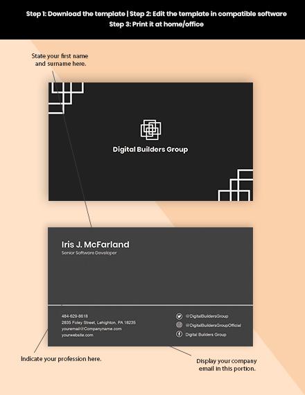 Software Development Business Card Format