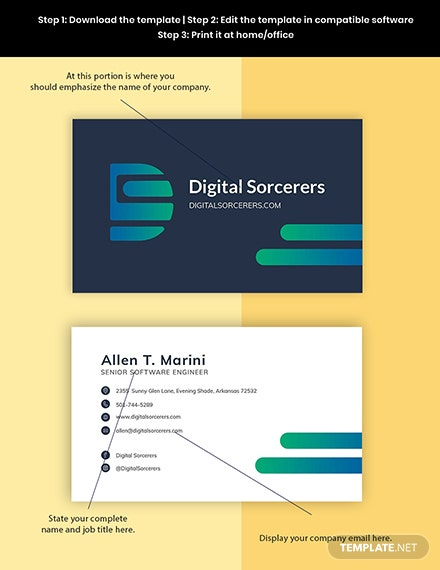 Software Engineer Business Card Template Format