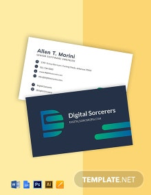 Software Company Engineer Business Card Template