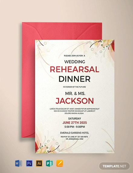FREE Wedding Rehearsal Party Invitation Template Download 979