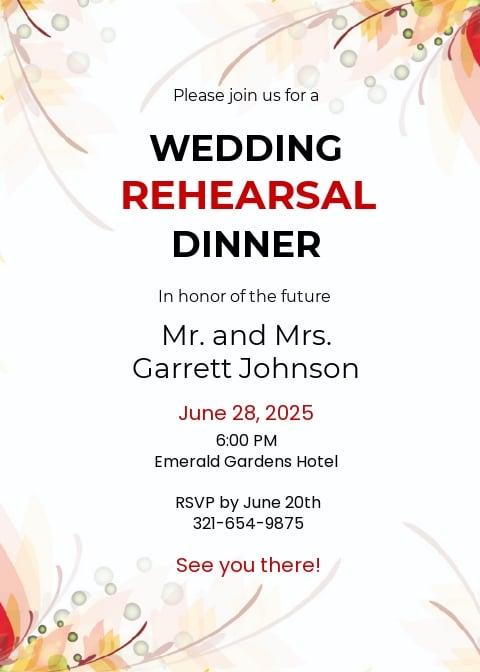 Wedding Rehearsal Party Invitation Template