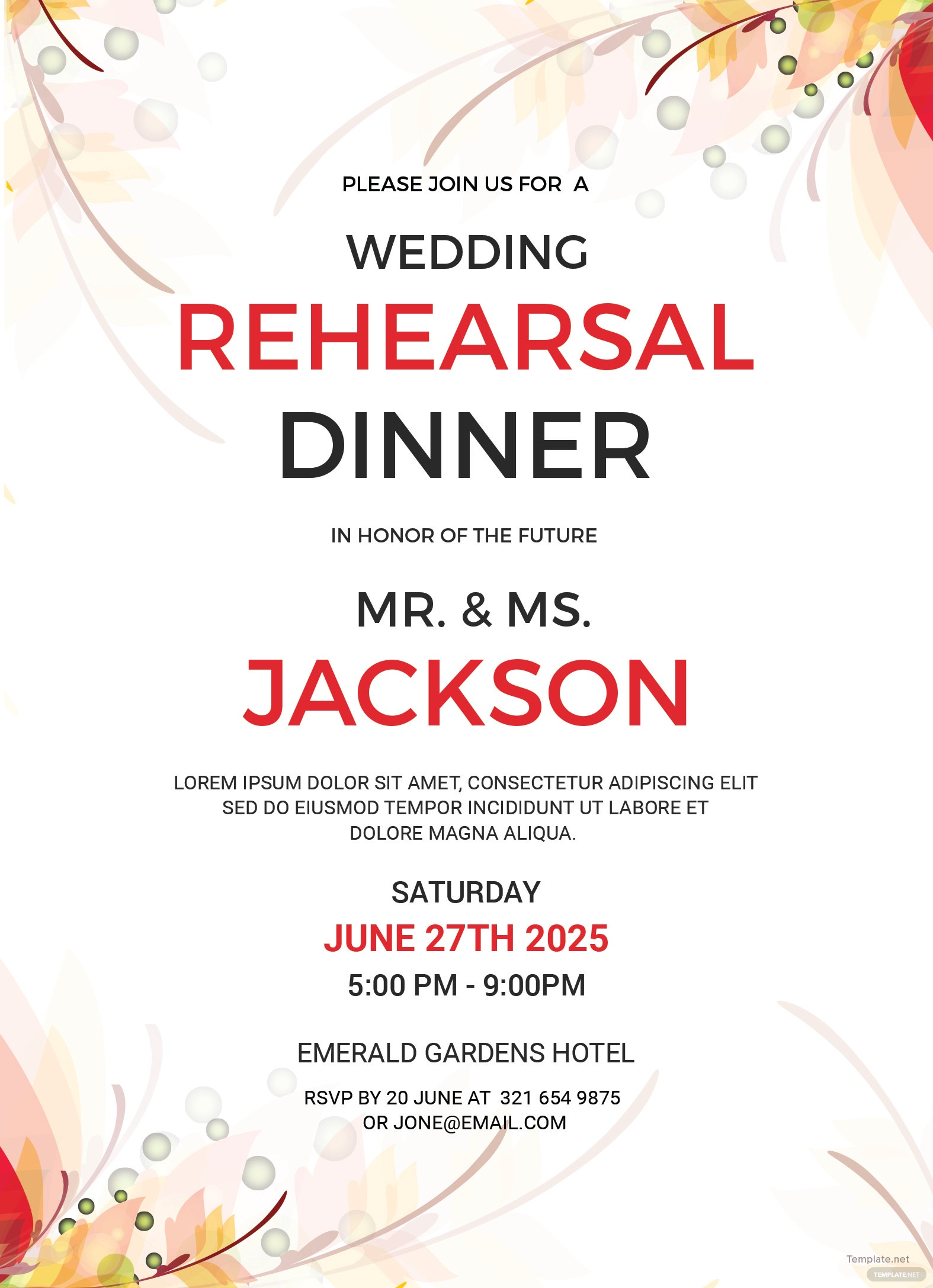 Wedding Rehearsal Party Invitation Template in Adobe Photoshop ...