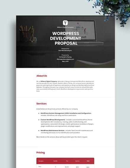 WordPress Development Proposal Template
