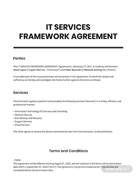 IT Services Framework Agreement Template