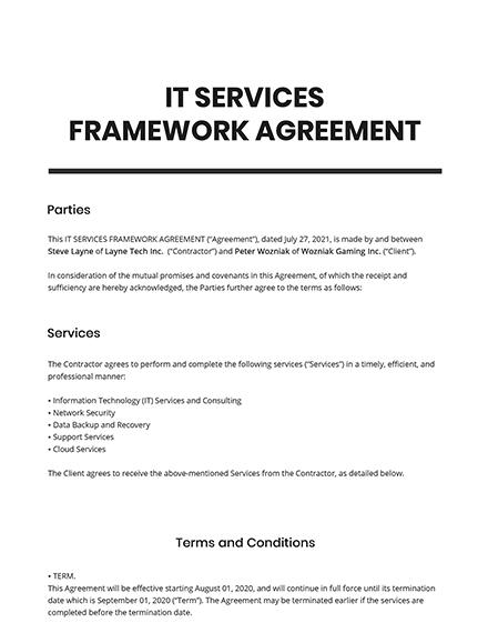 IT Services Framework Agreement Template