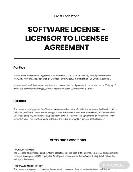 Software License  Licensor to License Agreement