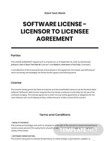 Software License - Licensor to Licensee Agreement Template