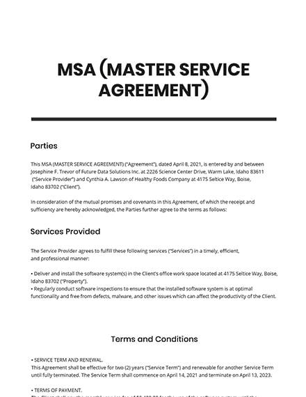 MSA (Master Service Agreement) Template