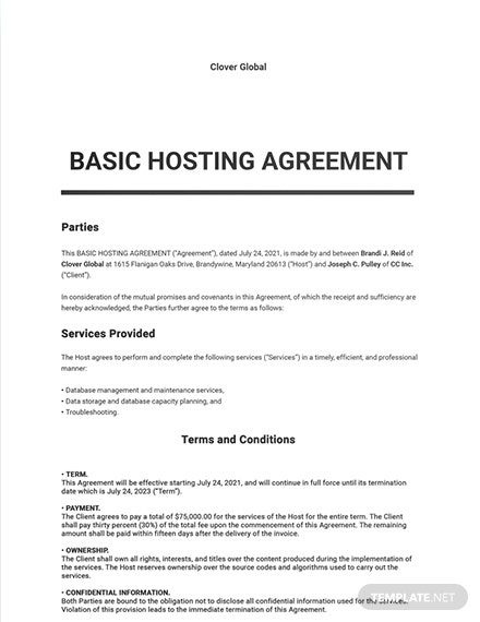 Free Basic Hosting Agreement Template