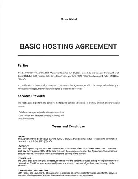 Free Basic Hosting Agreement Template