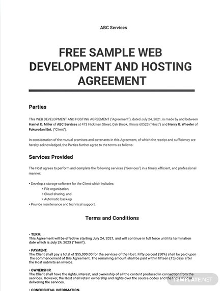 Sample Web Development and Hosting Agreement Template