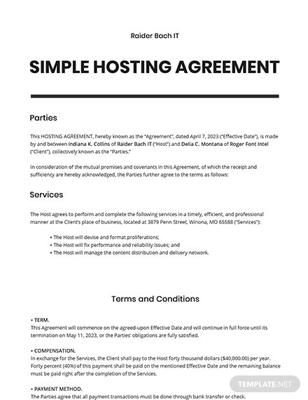 Simple Hosting Agreement Template