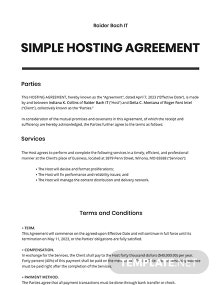 Free Simple Hosting Agreement Template