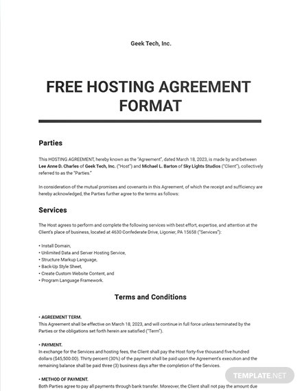 Free Hosting Agreement Format Template