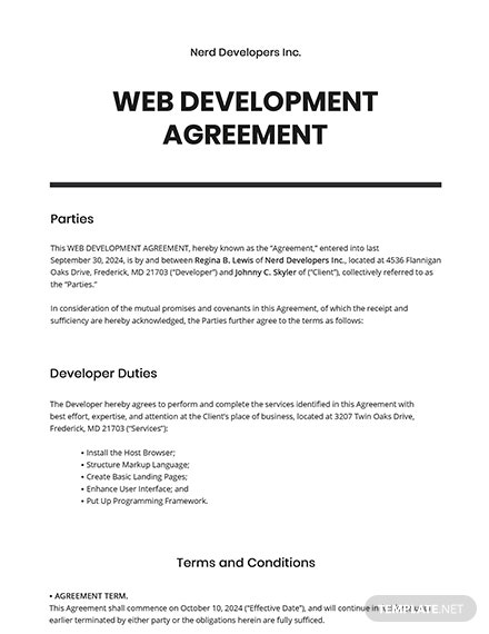 Free Sample Web Development Agreement Template