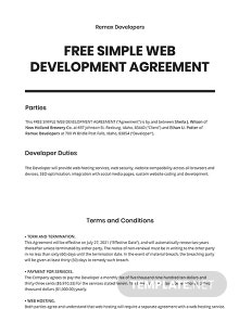 Free Simple Web Development Agreement Template