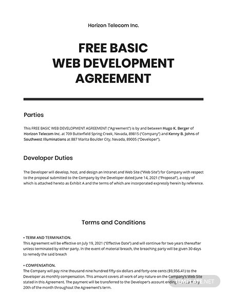 Basic Web Development Agreement Template