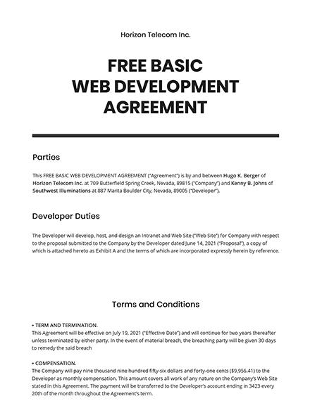 Free Basic Web Development Agreement Template