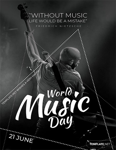 Free World Music Day Greeting Card Template