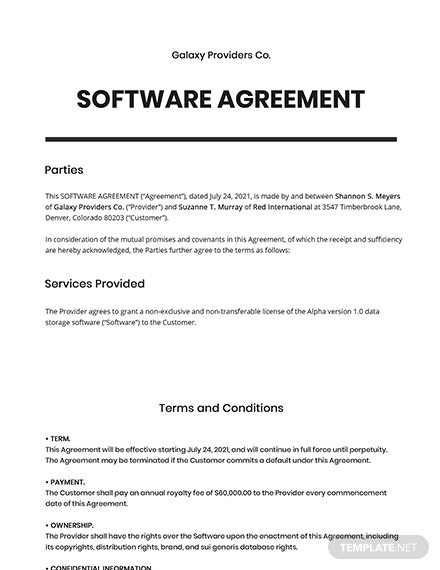 Free Sample Software Agreement Template