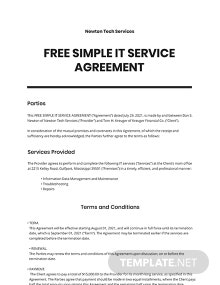 Free Simple IT Service Agreement Template