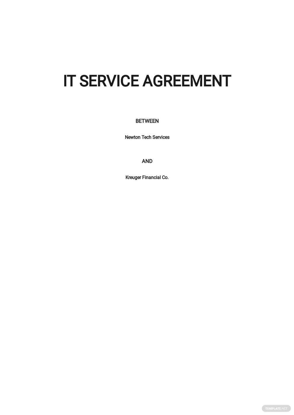 Simple IT Service Agreement Template