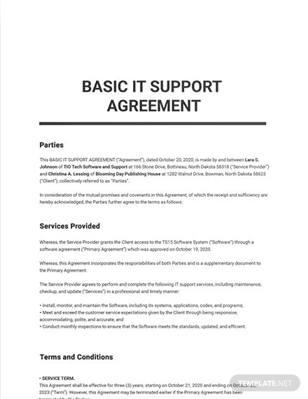 Basic IT Support Agreement Template