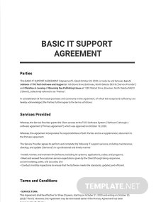 Free Basic IT Support Agreement Template