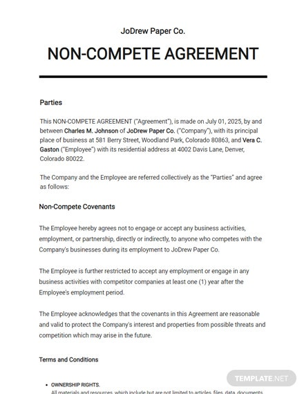 Free NonCompete Agreement
