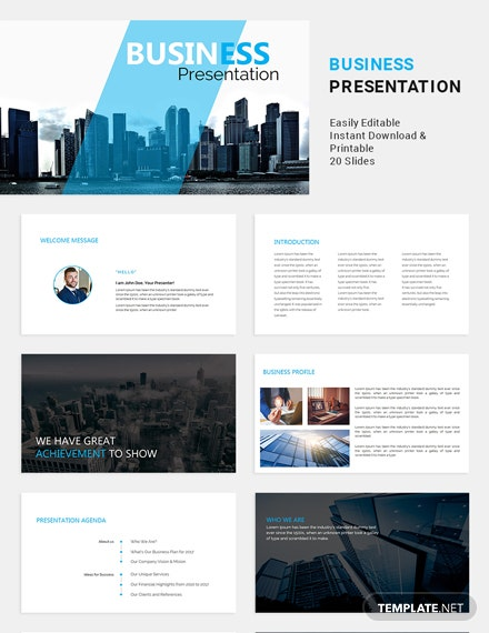 Free Formal Business Presentation Template