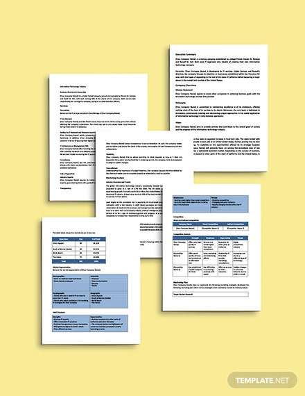 IT Startup Business Plan Template Printable