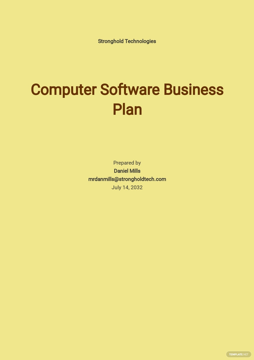 Computer Software Business Plan Template