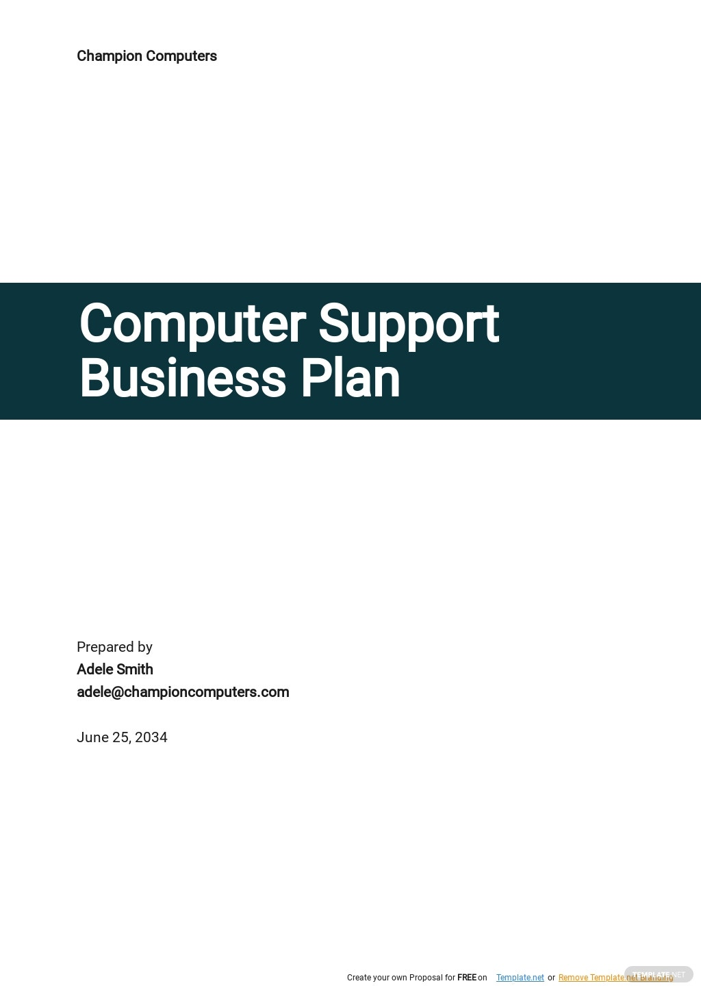 Computer Support Business Plan Template.jpe